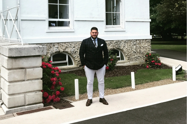 Harvey James outside Thorncroft Manor