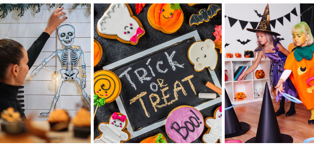 Images showing celebrating Halloween at home with kids games and decorations